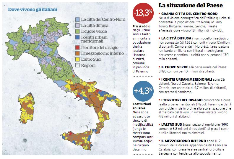Infografica scomparsa dei paesi dalla mappa d'Italia
