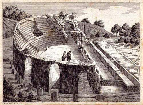 Come appariva il teatro in un'incisione dell'Ottocento