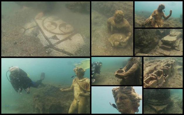 Copie della statuaria originale del Ninfeo di Claudio